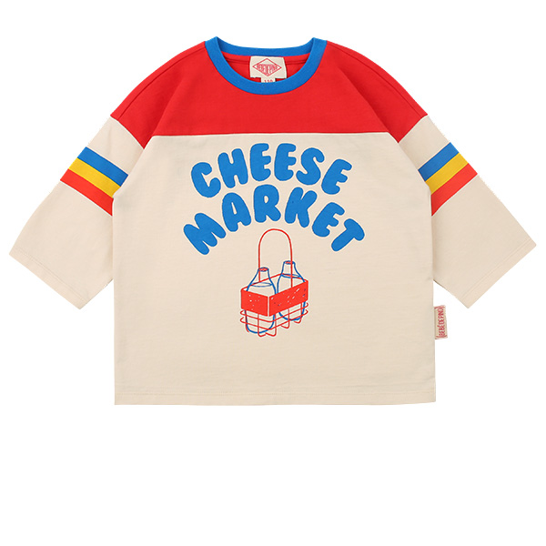 Cheese market color block three quarter sleeve tee
