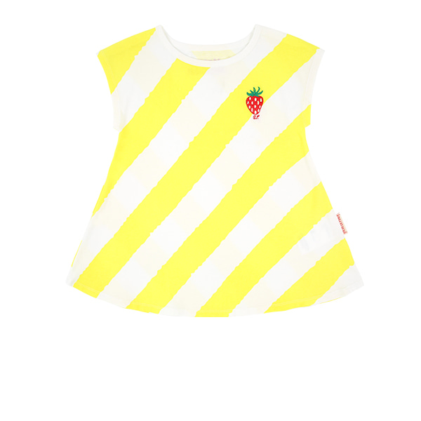 Strawberry baby diagonal yellow striped jersey dressNEW SUMMER