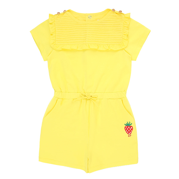 Strawberry cotton pin tuck ruffle playsuit  NEW SUMMER